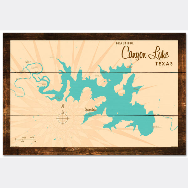 Canyon Lake Texas, Rustic Wood Sign Map Art
