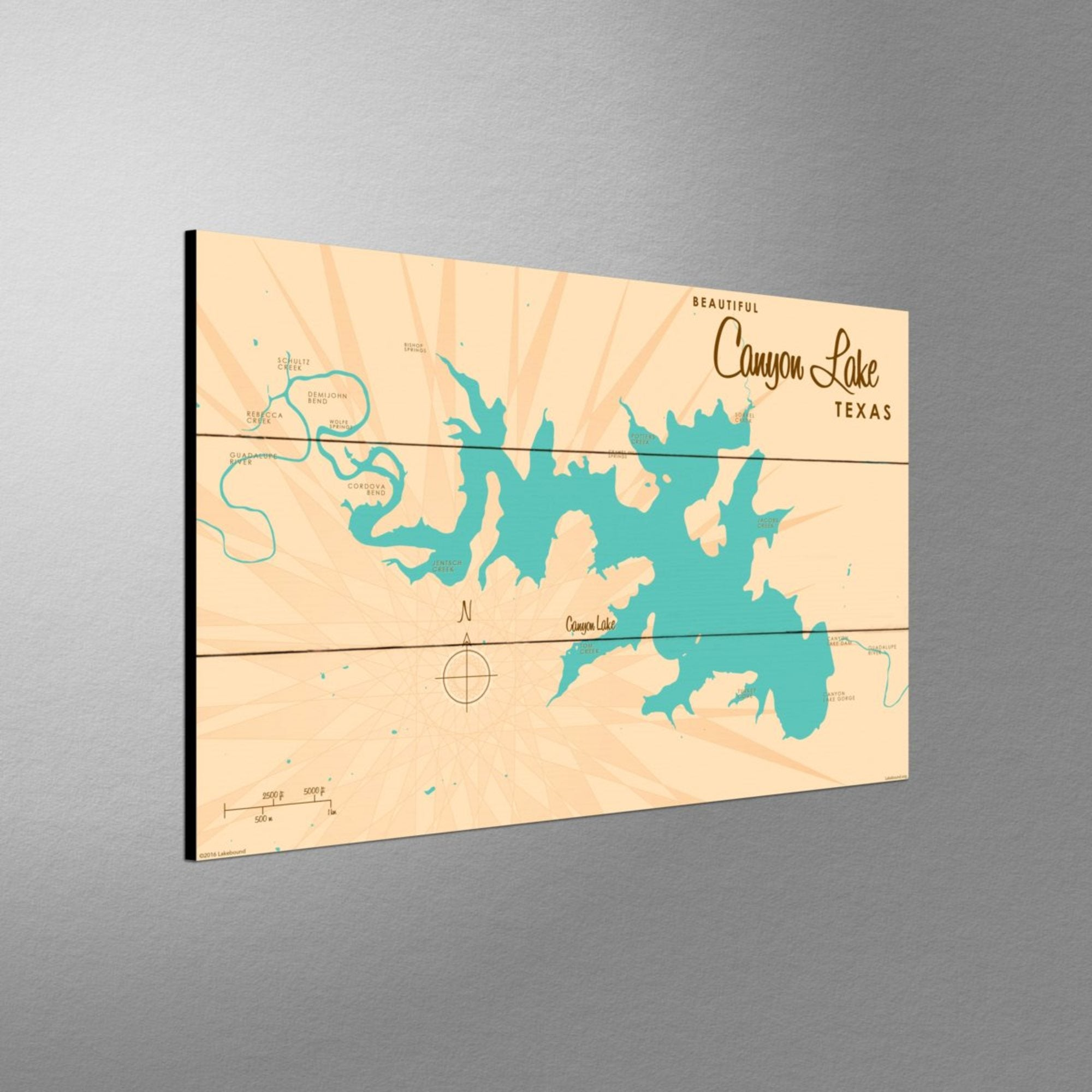 Canyon Lake Texas, Wood Sign Map Art