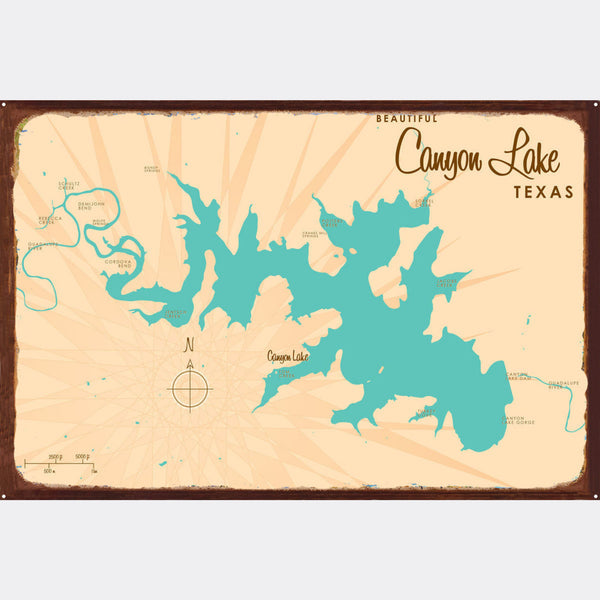 Canyon Lake Texas, Rustic Metal Sign Map Art