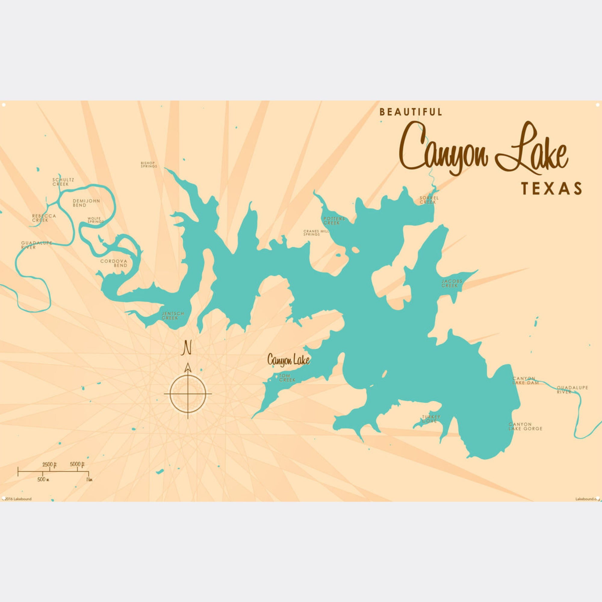 Canyon Lake Texas, Metal Sign Map Art