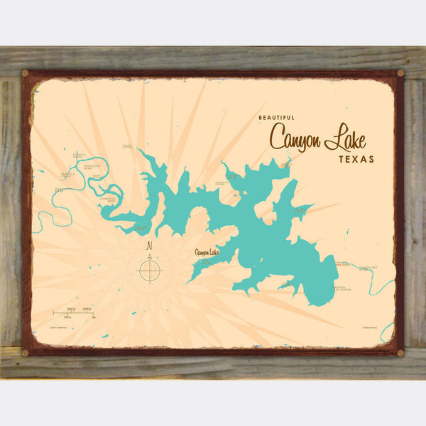 Canyon Lake Texas, Wood-Mounted Rustic Metal Sign Map Art