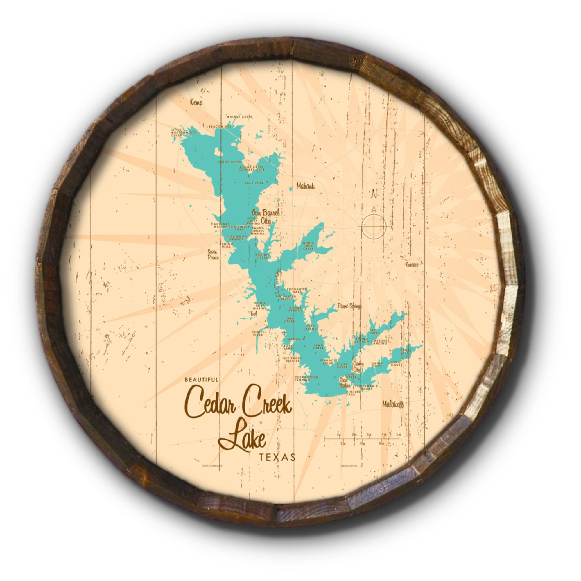 Cedar Creek Lake Texas, Rustic Barrel End Map Art