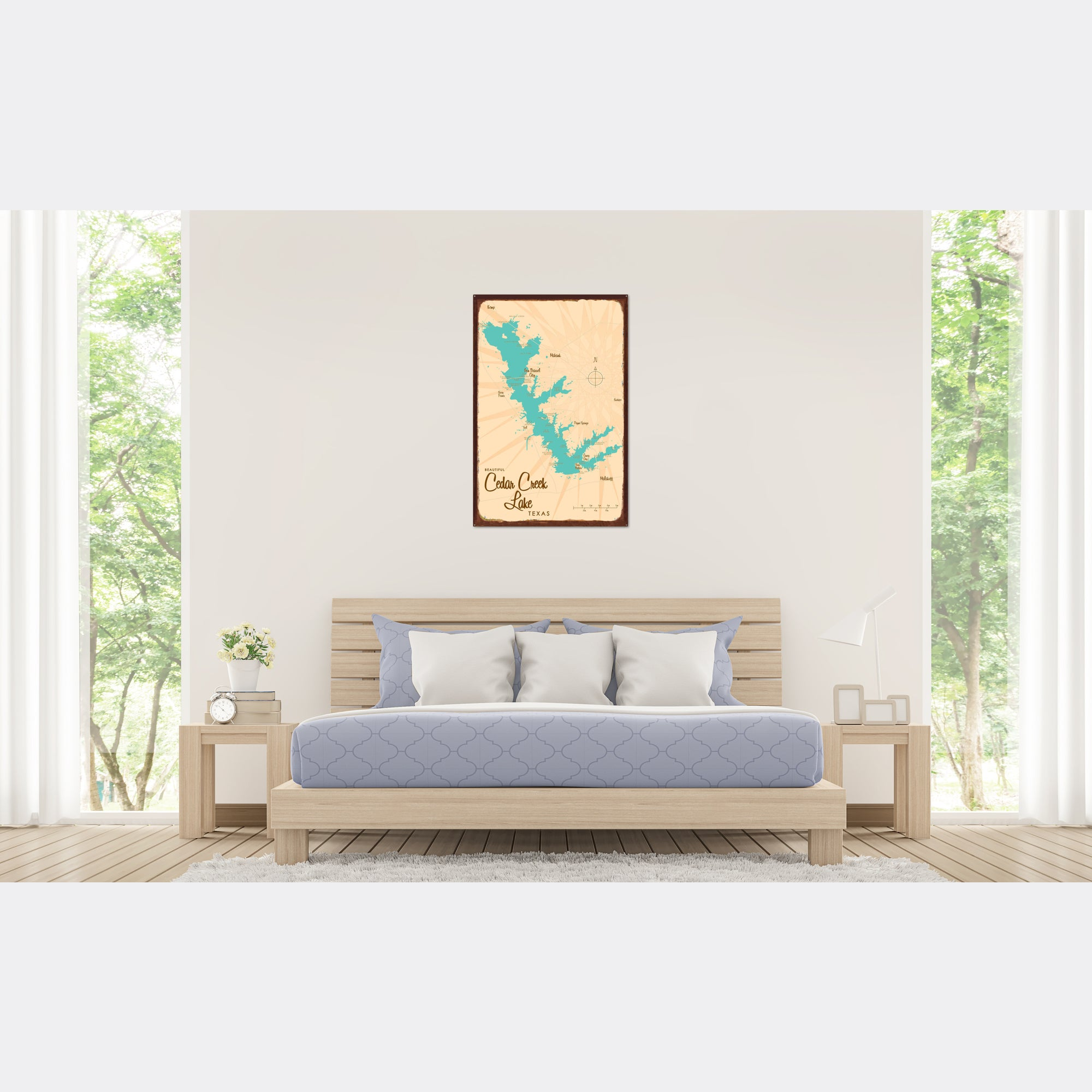 Cedar Creek Lake Texas, Rustic Metal Sign Map Art