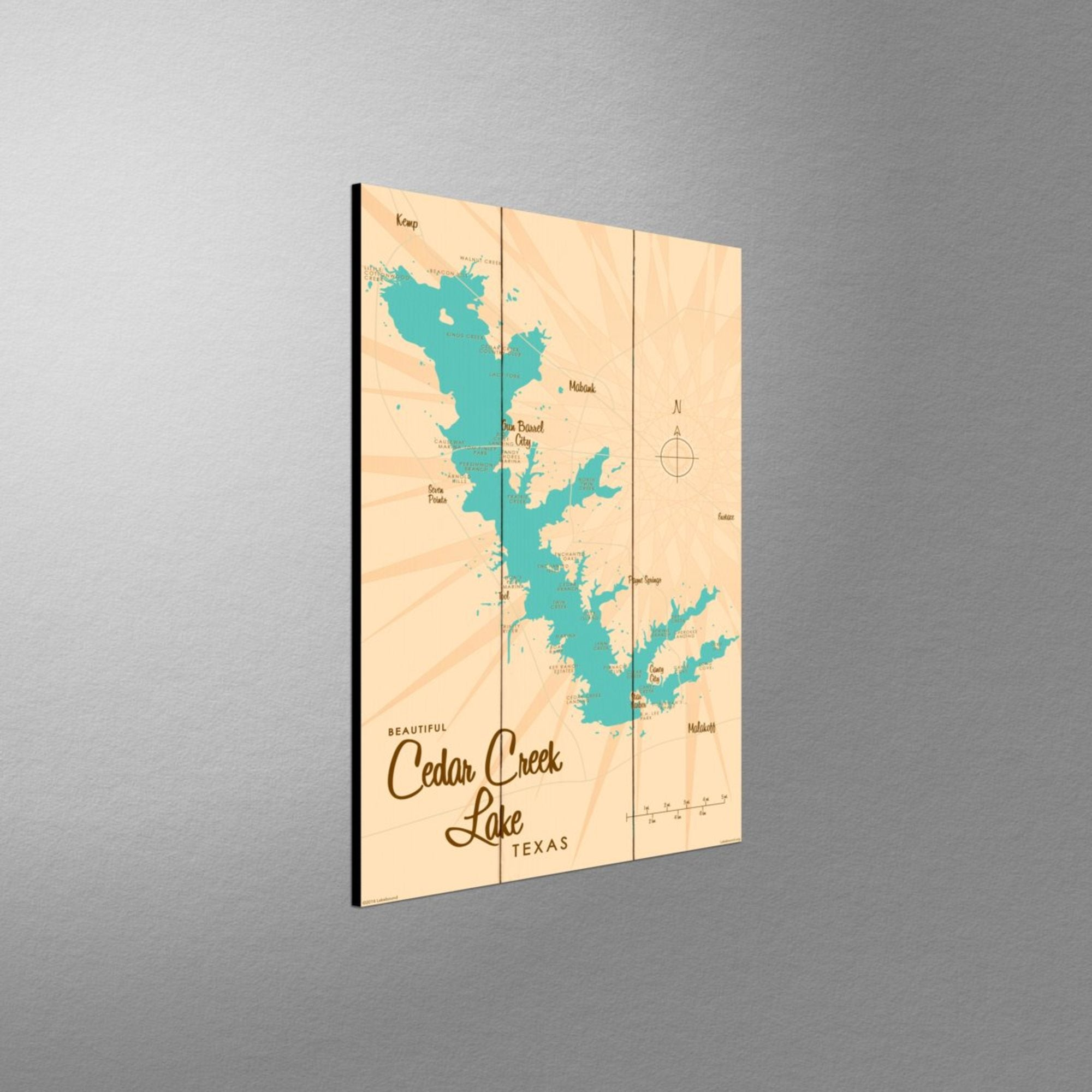 Cedar Creek Lake Texas, Wood Sign Map Art