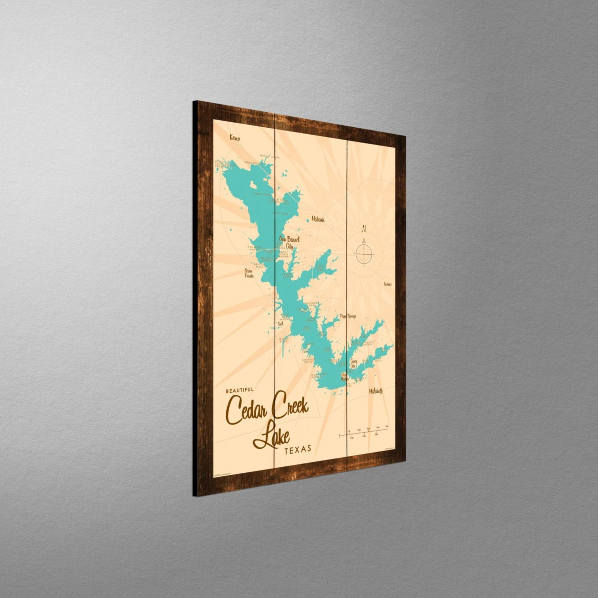 Cedar Creek Lake Texas, Rustic Wood Sign Map Art