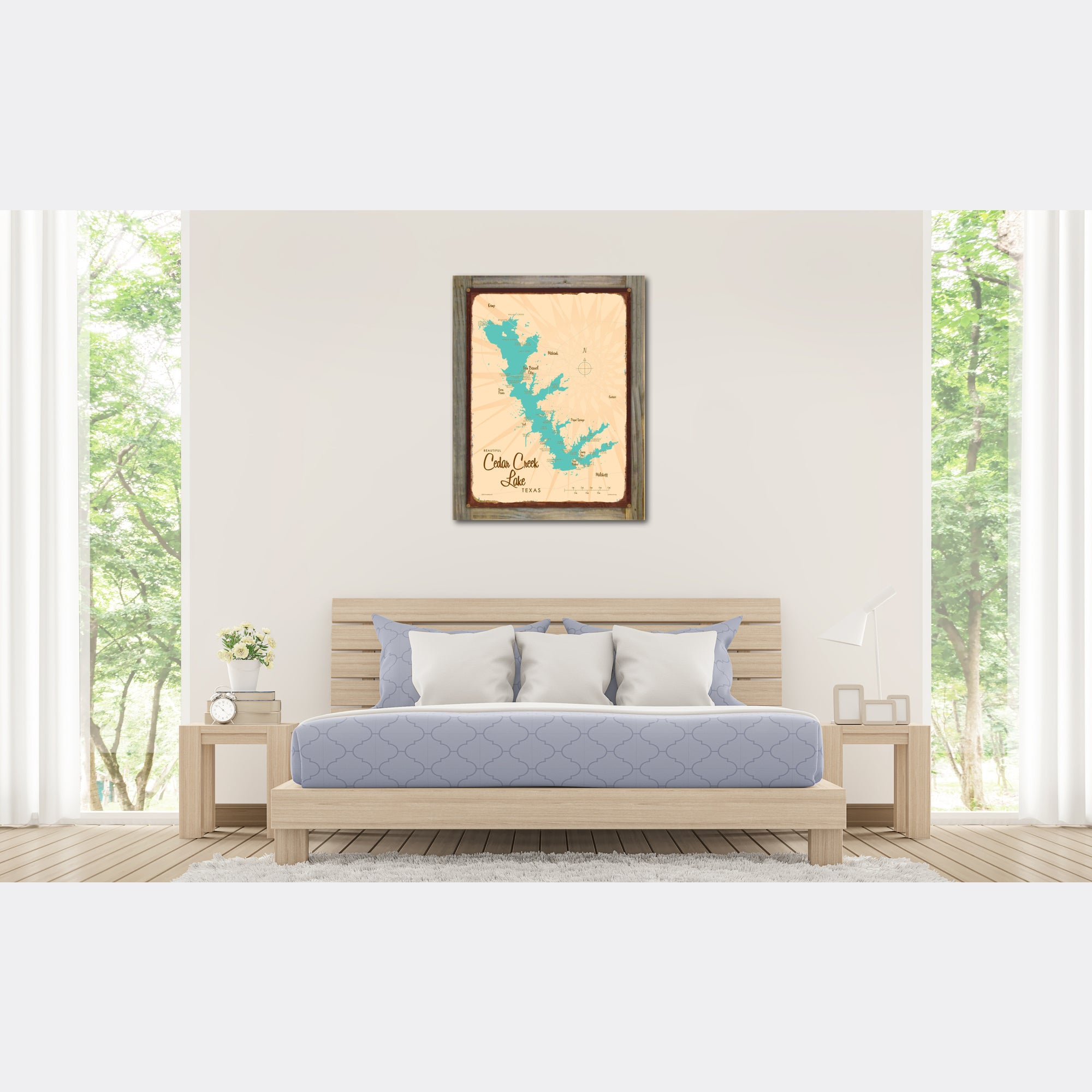 Cedar Creek Lake Texas, Wood-Mounted Rustic Metal Sign Map Art