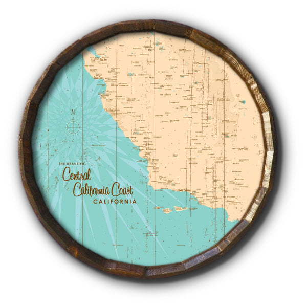 Central CA Coast, Rustic Barrel End Map Art