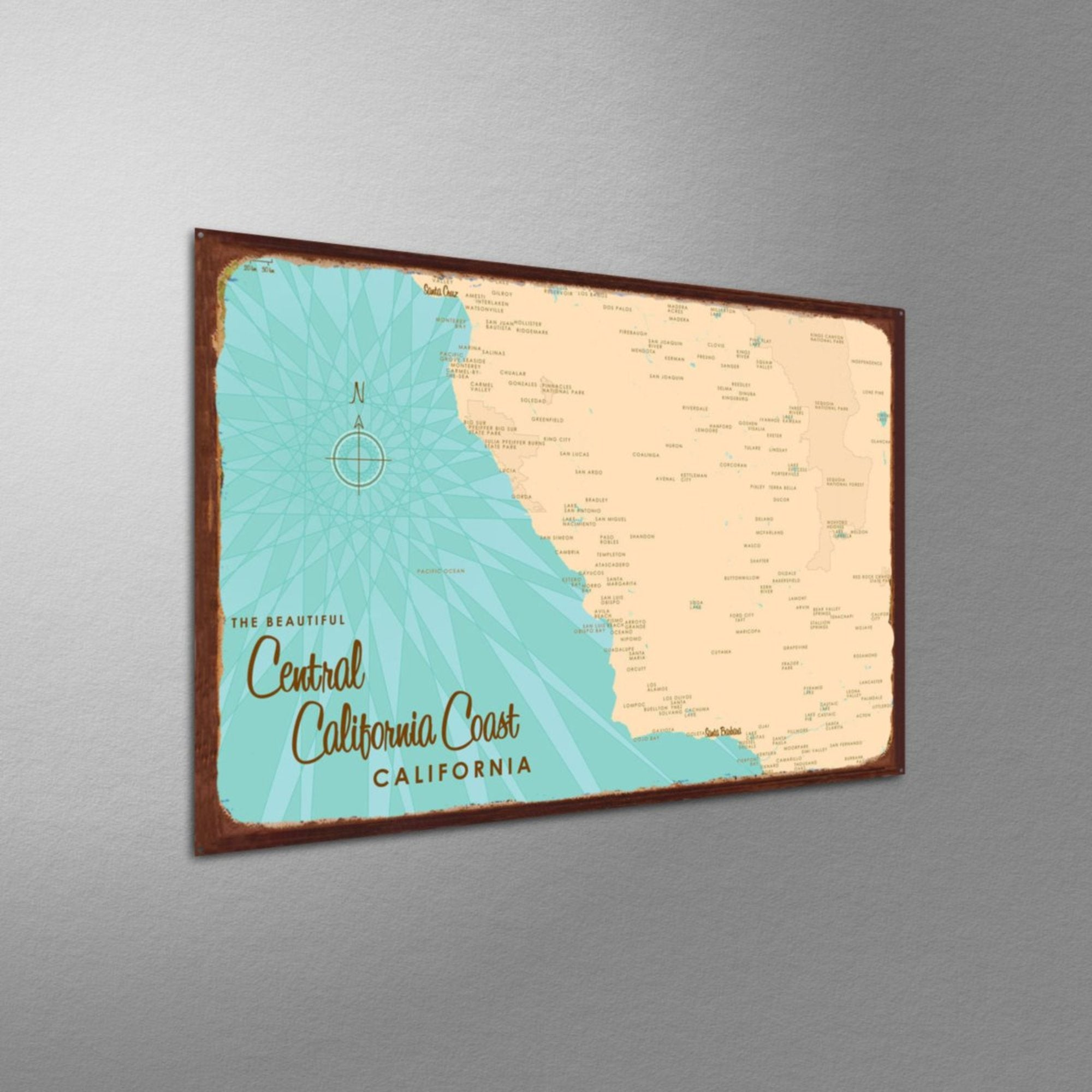 Central CA Coast, Rustic Metal Sign Map Art