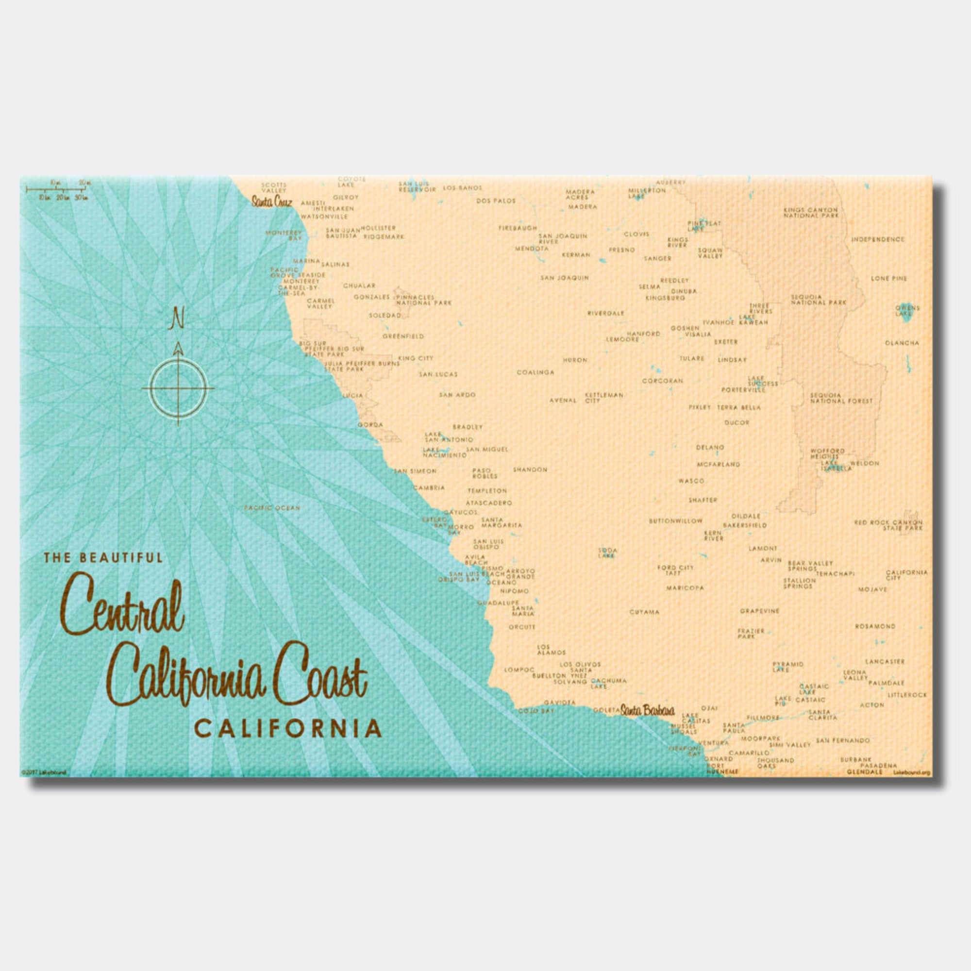 Central CA Coast, Canvas Print