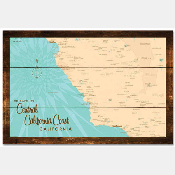Central CA Coast, Rustic Wood Sign Map Art