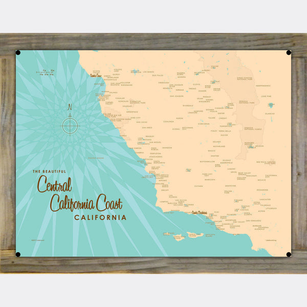 Central CA Coast, Wood-Mounted Metal Sign Map Art
