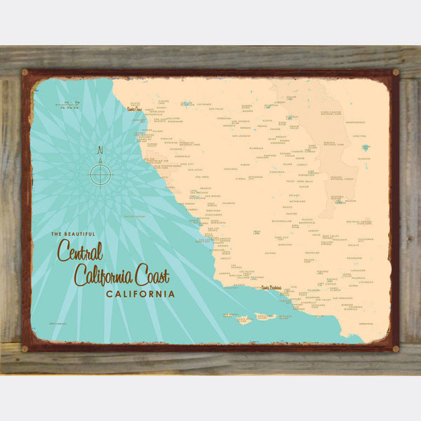Central CA Coast, Wood-Mounted Rustic Metal Sign Map Art