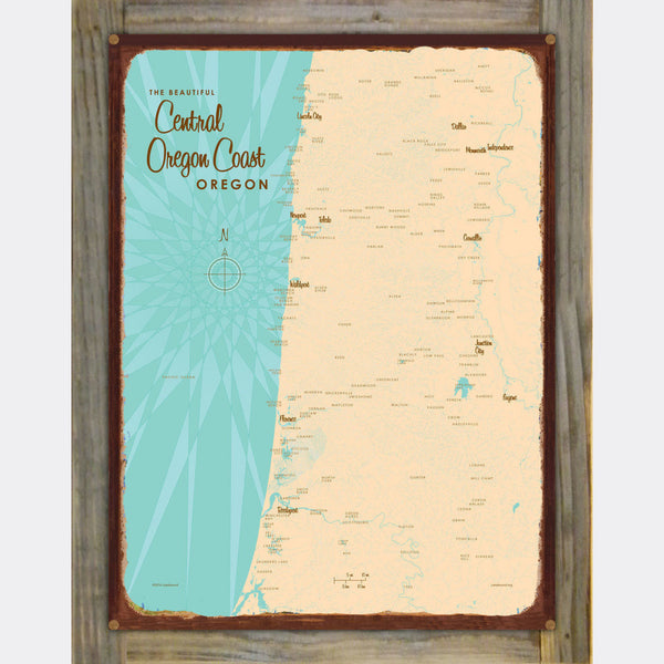 Central Oregon Coast, Wood-Mounted Rustic Metal Sign Map Art
