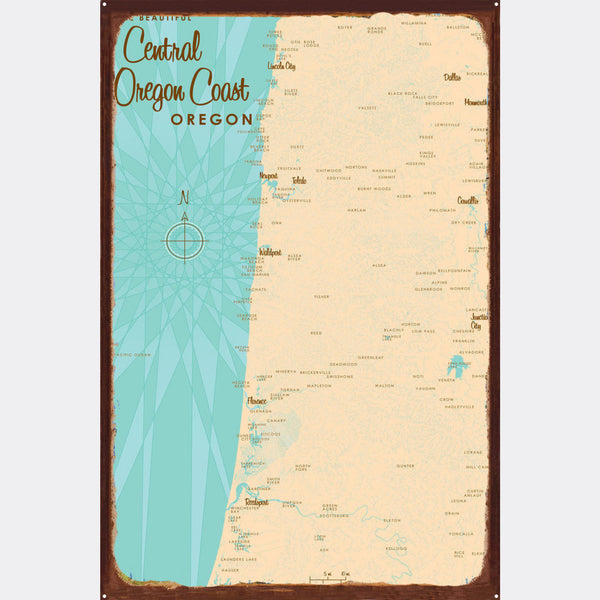 Central Oregon Coast, Rustic Metal Sign Map Art