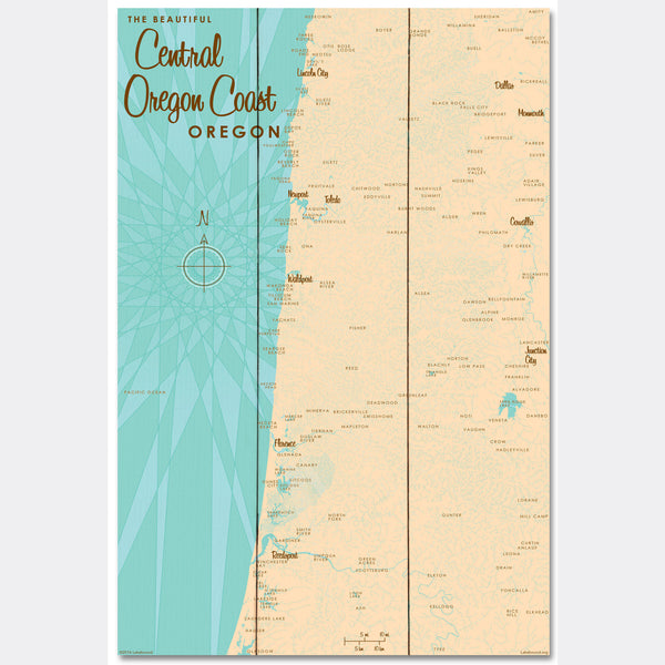 Central Oregon Coast, Wood Sign Map Art
