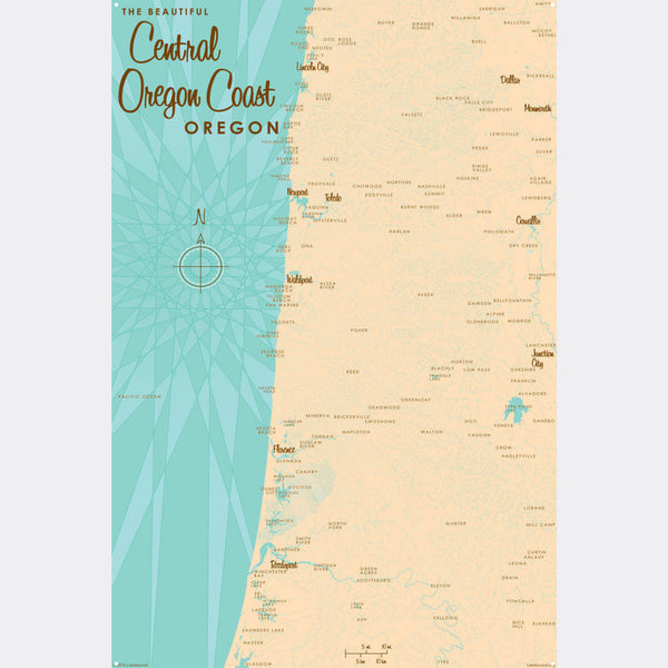 Central Oregon Coast, Metal Sign Map Art