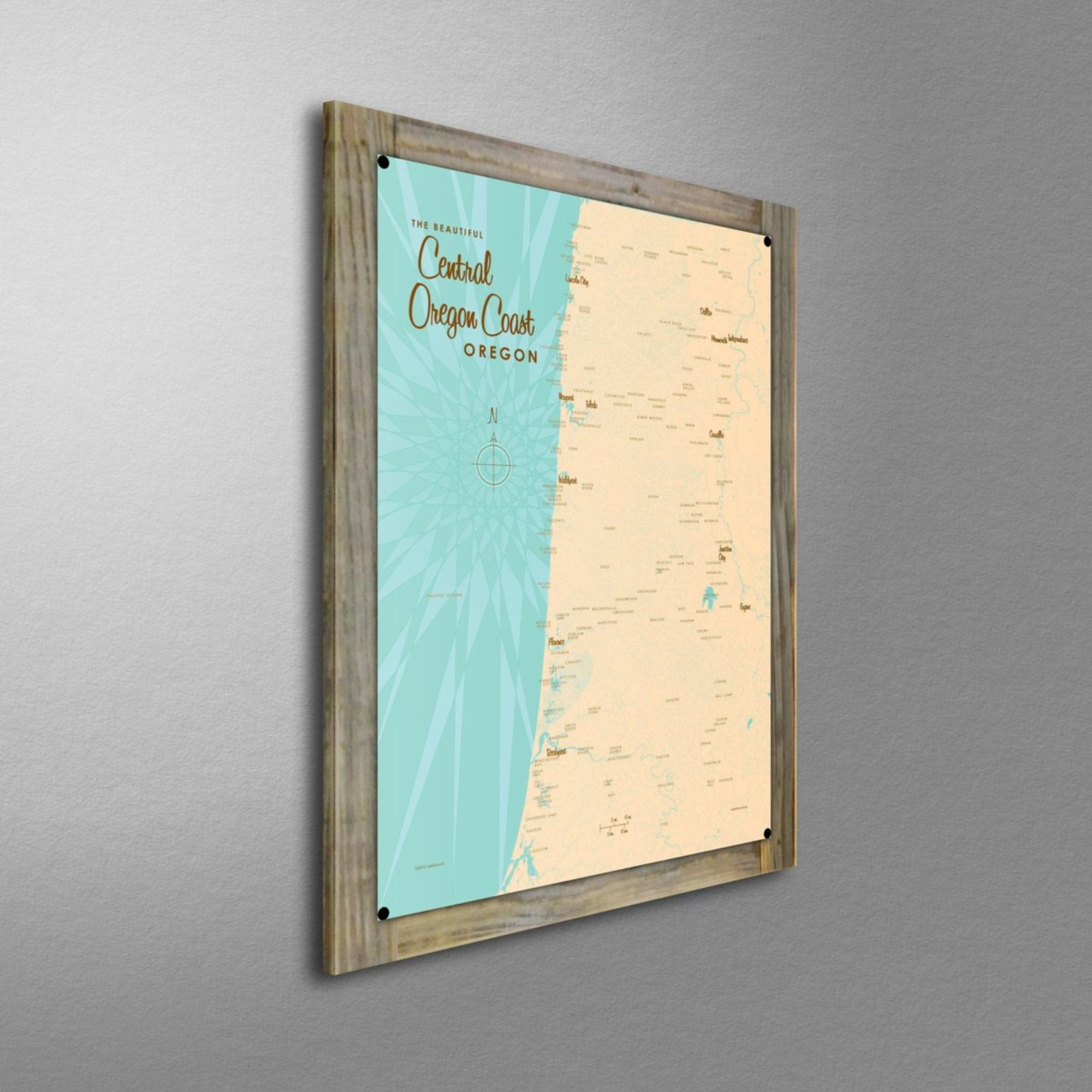 Central Oregon Coast, Wood-Mounted Metal Sign Map Art