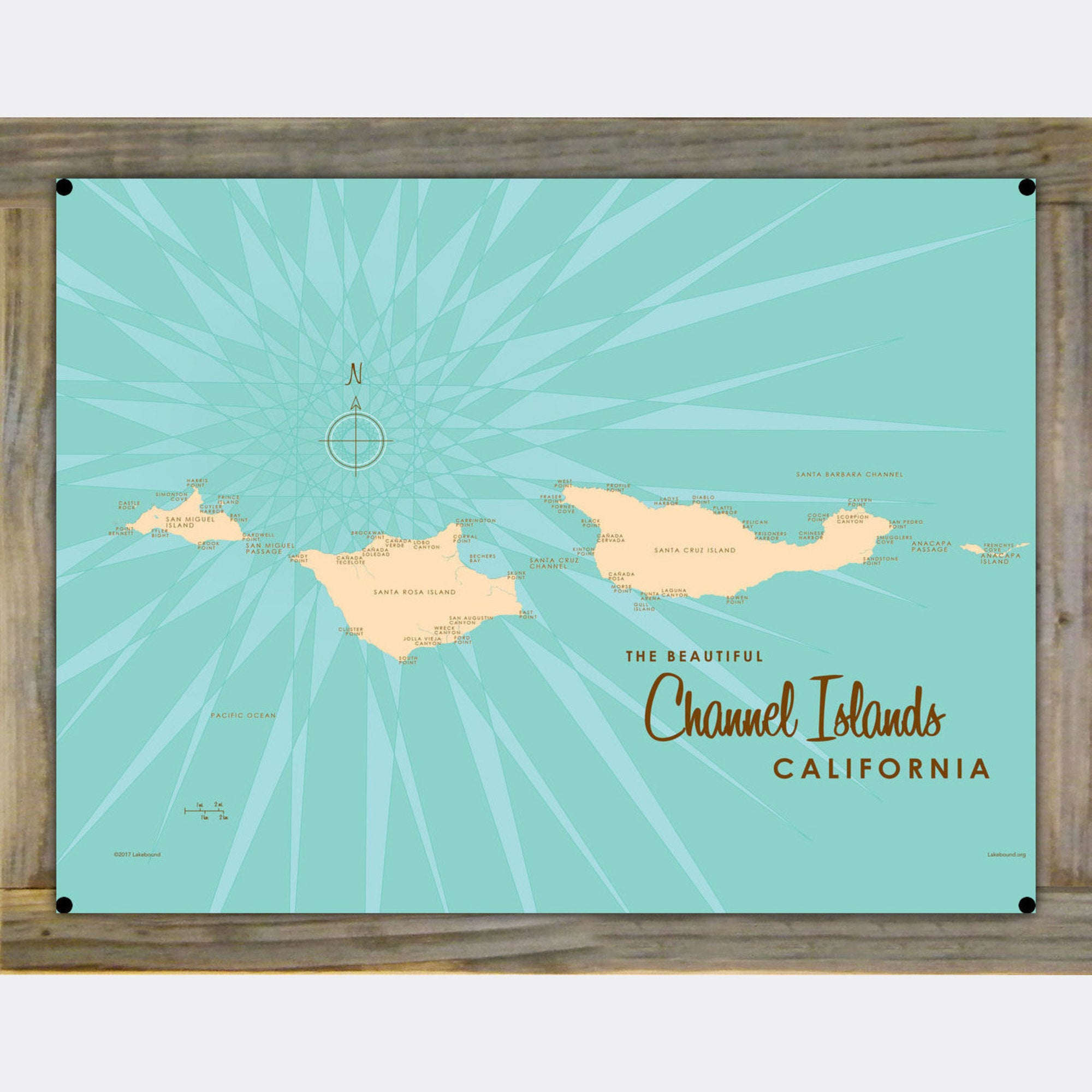 Channel Islands California, Wood-Mounted Metal Sign Map Art