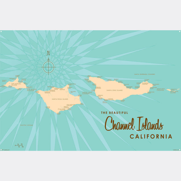 Channel Islands California, Metal Sign Map Art