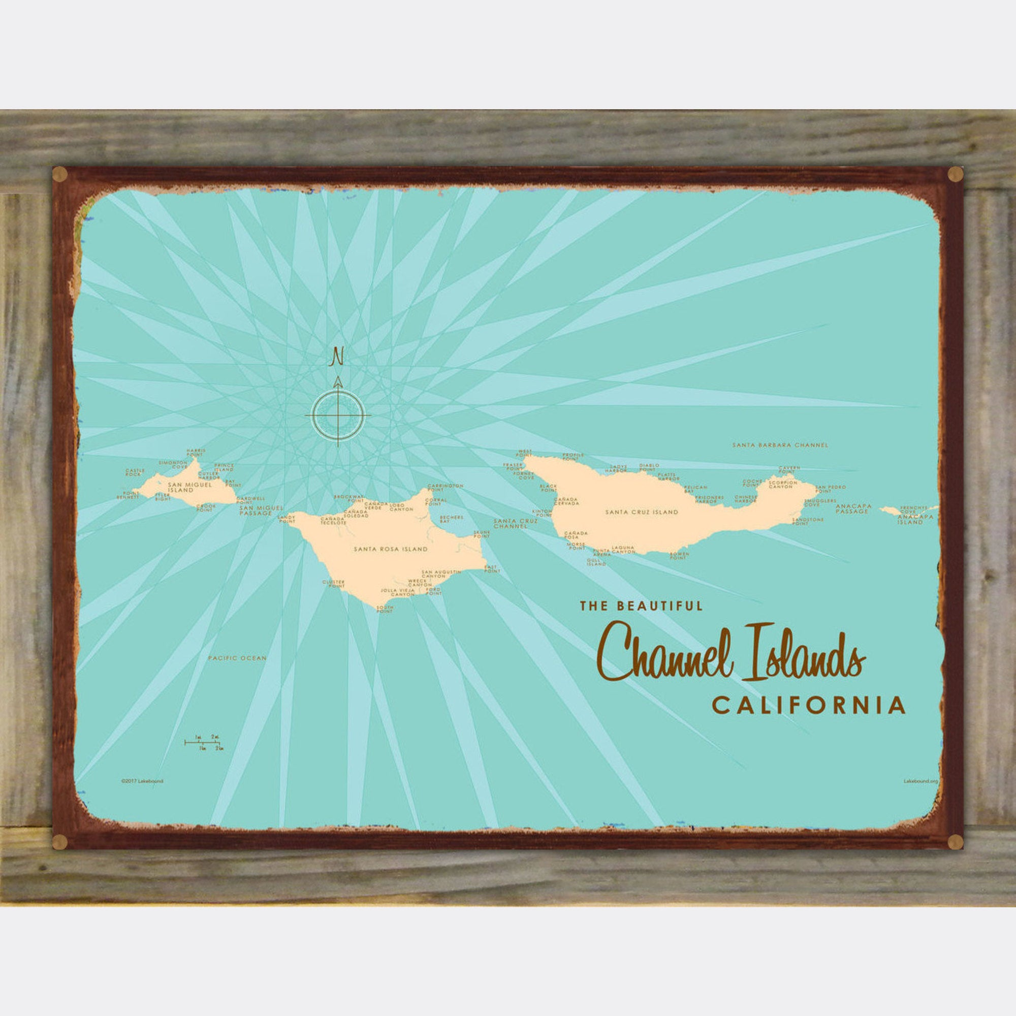 Channel Islands California, Wood-Mounted Rustic Metal Sign Map Art