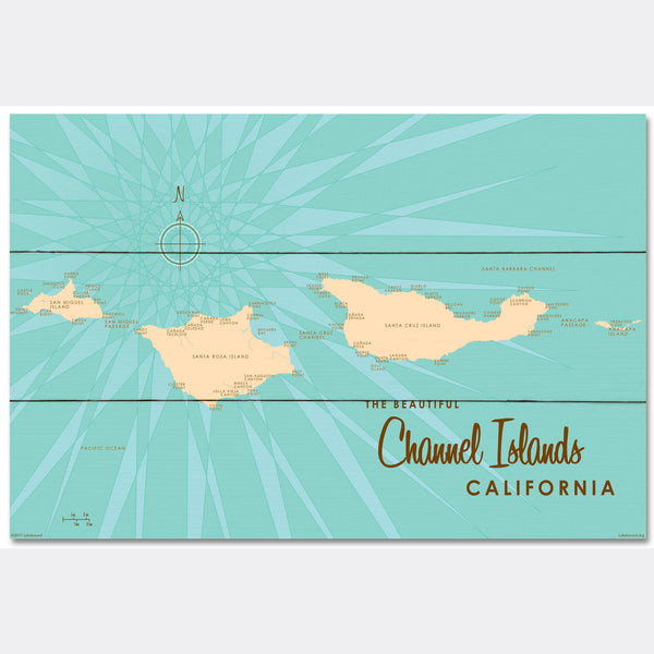 Channel Islands California, Wood Sign Map Art