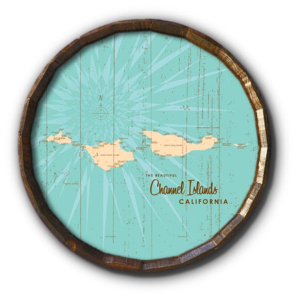 Channel Islands California, Rustic Barrel End Map Art