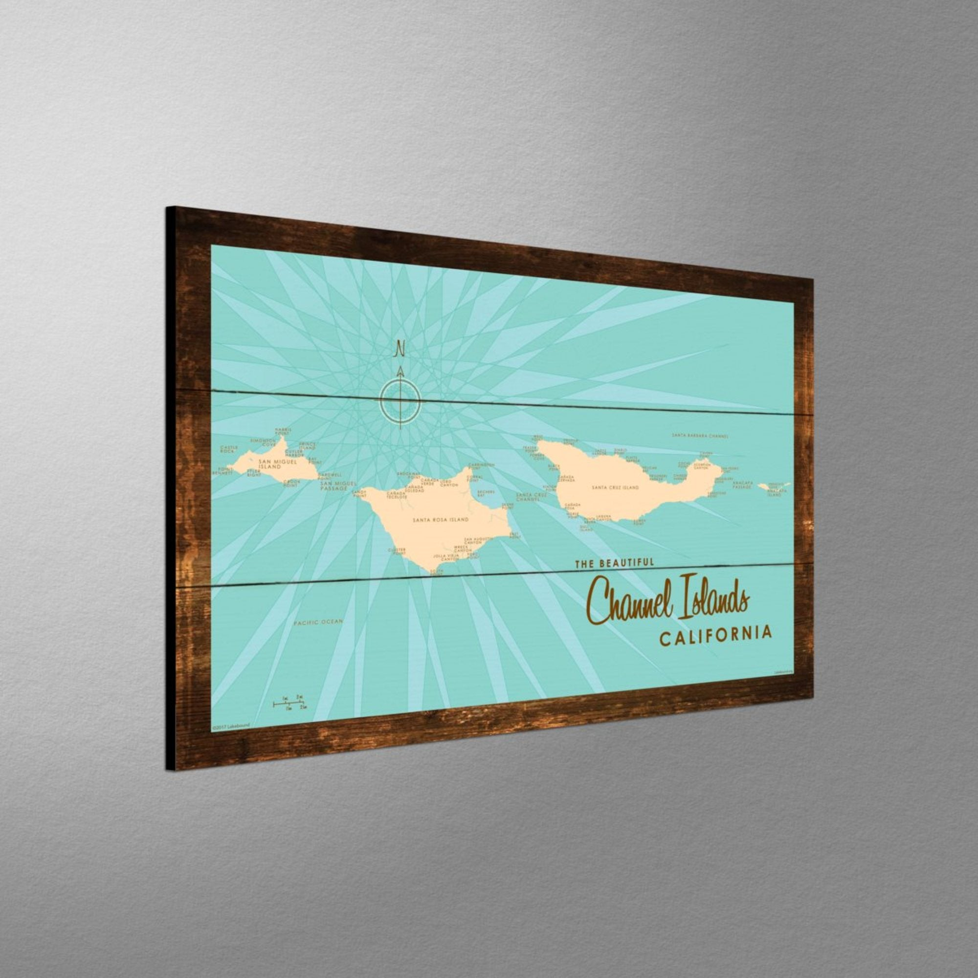 Channel Islands California, Rustic Wood Sign Map Art