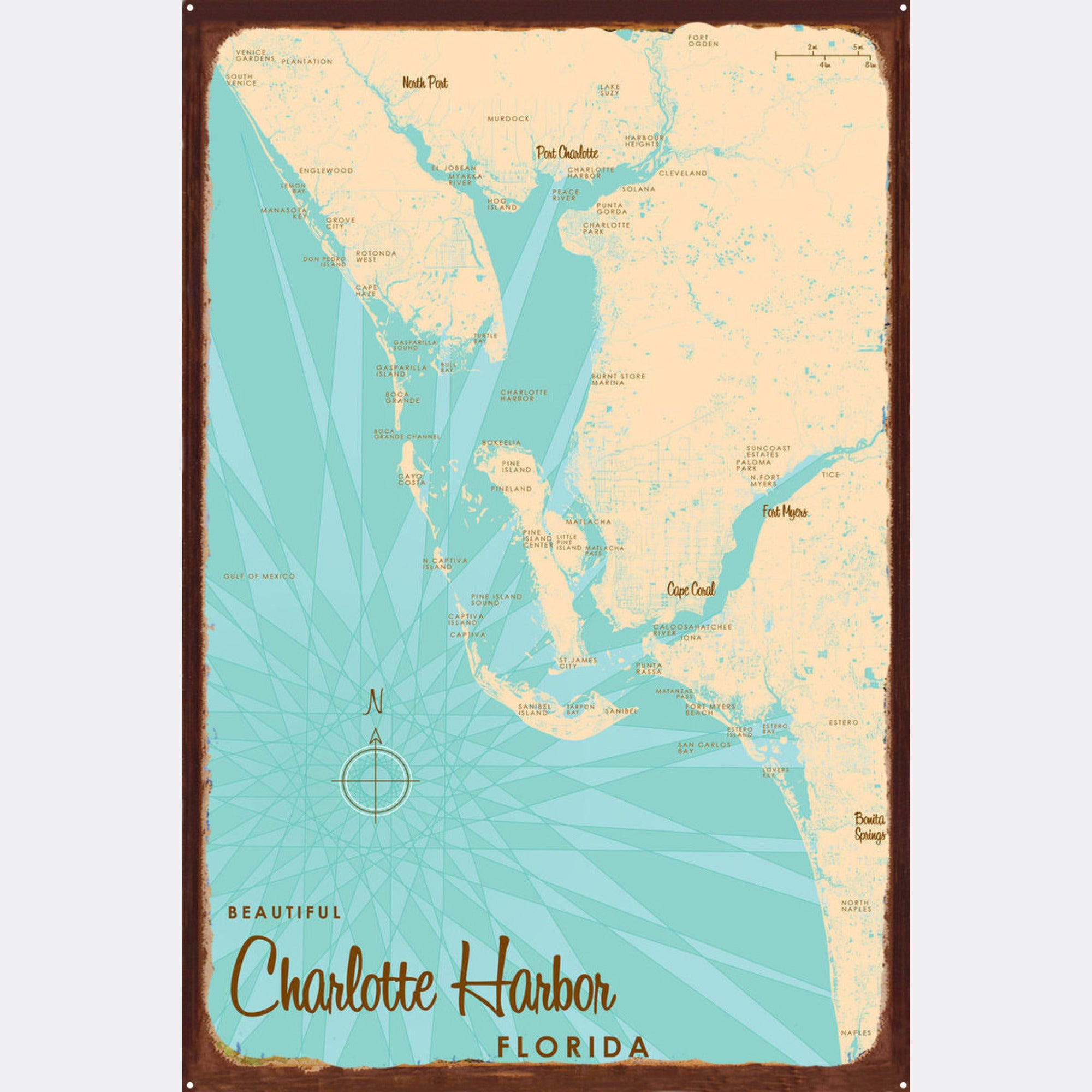 Charlotte Harbor Florida, Rustic Metal Sign Map Art
