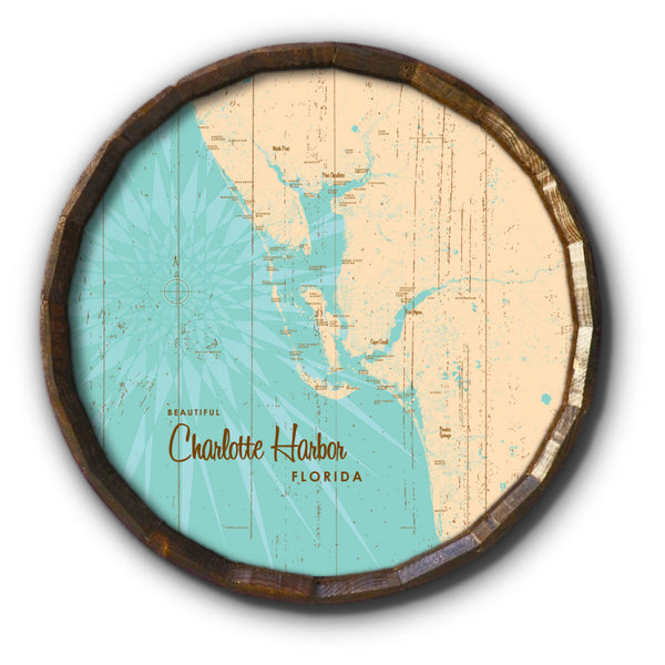 Charlotte Harbor Florida, Rustic Barrel End Map Art