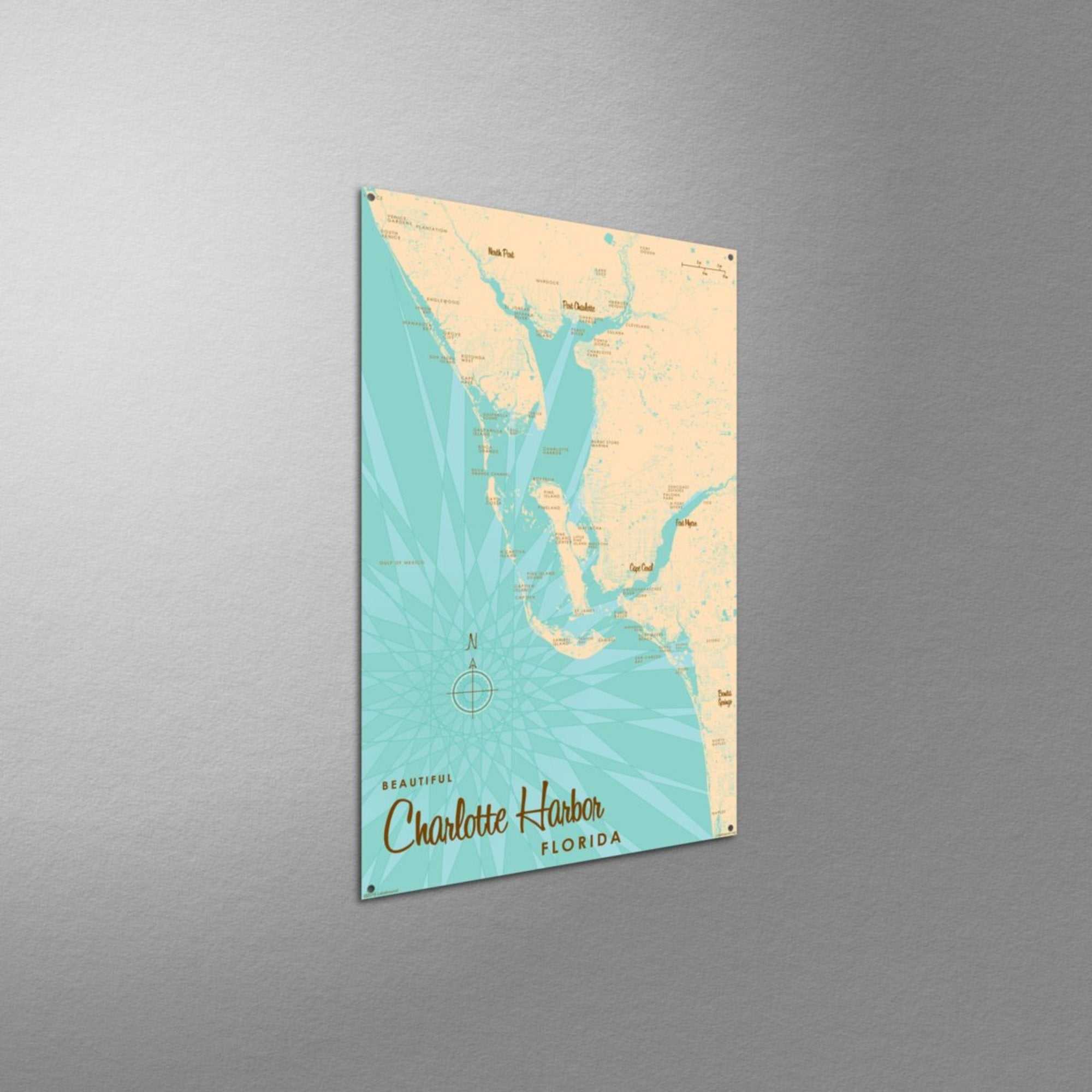 Charlotte Harbor Florida, Metal Sign Map Art