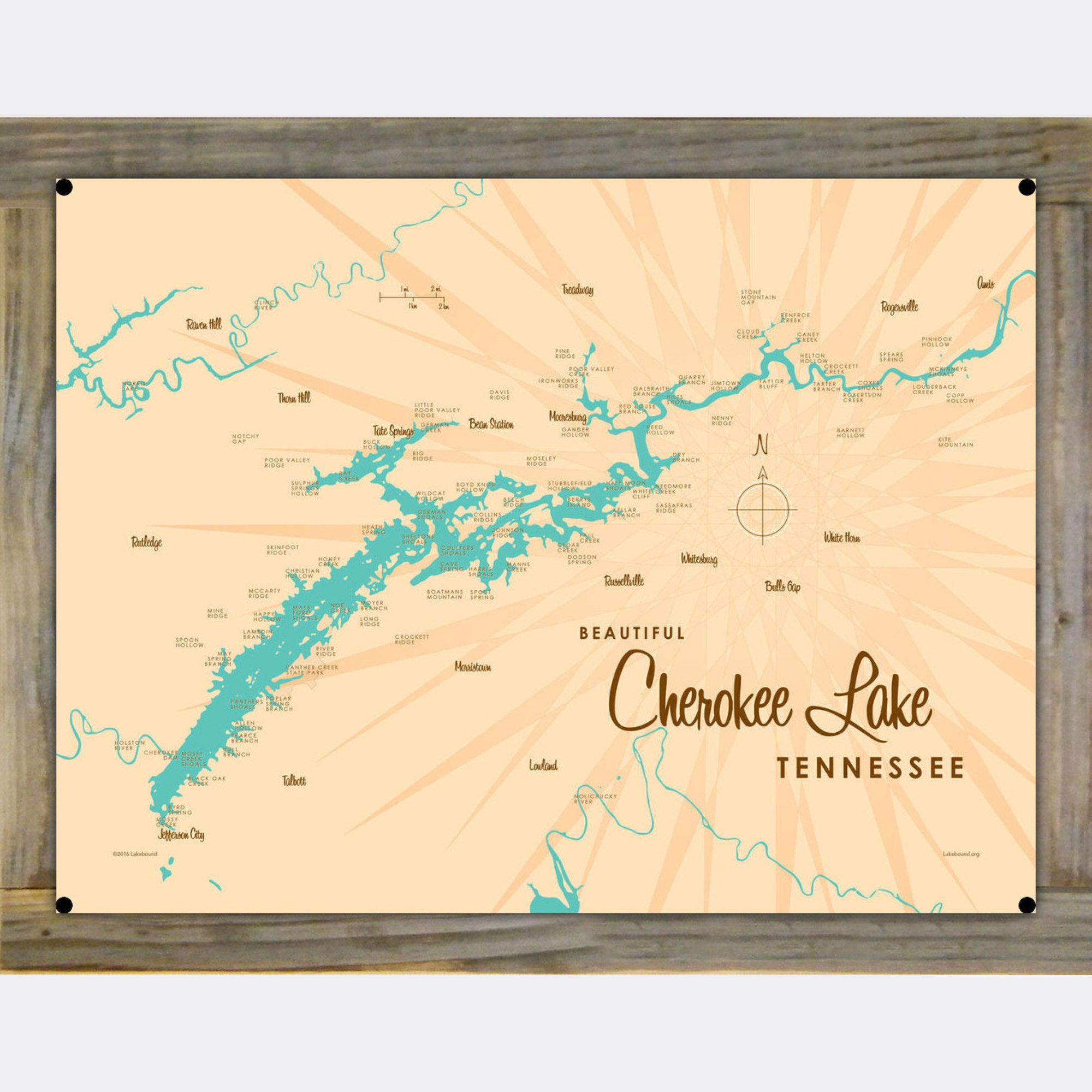 Cherokee Lake Tennessee, Wood-Mounted Metal Sign Map Art