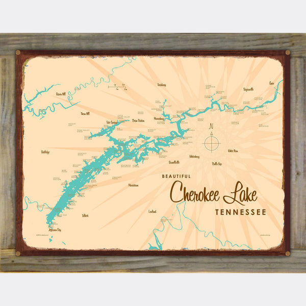 Cherokee Lake Tennessee, Wood-Mounted Rustic Metal Sign Map Art