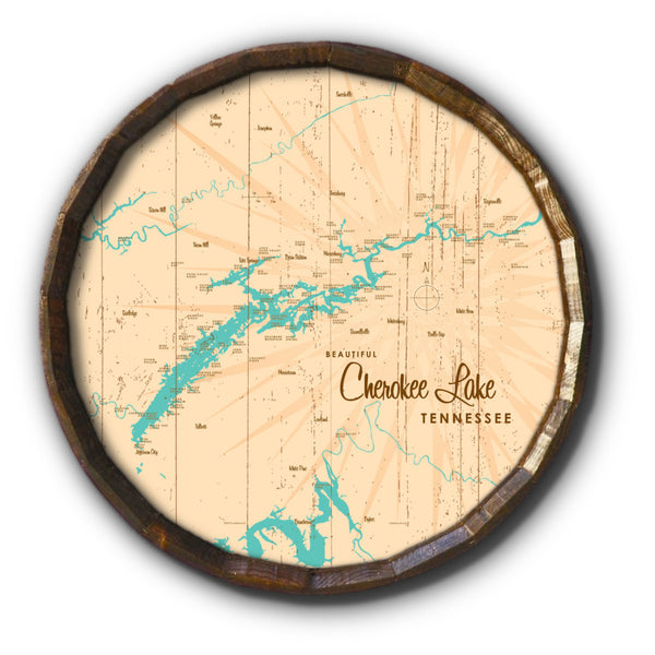Cherokee Lake Tennessee, Rustic Barrel End Map Art