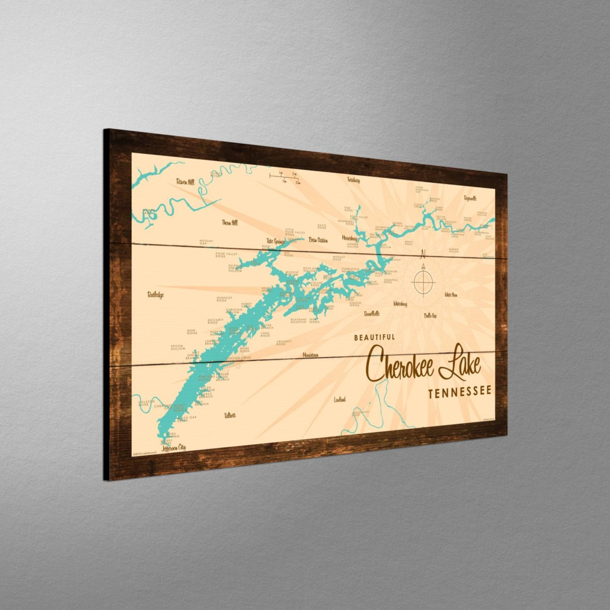 Cherokee Lake Tennessee, Rustic Wood Sign Map Art