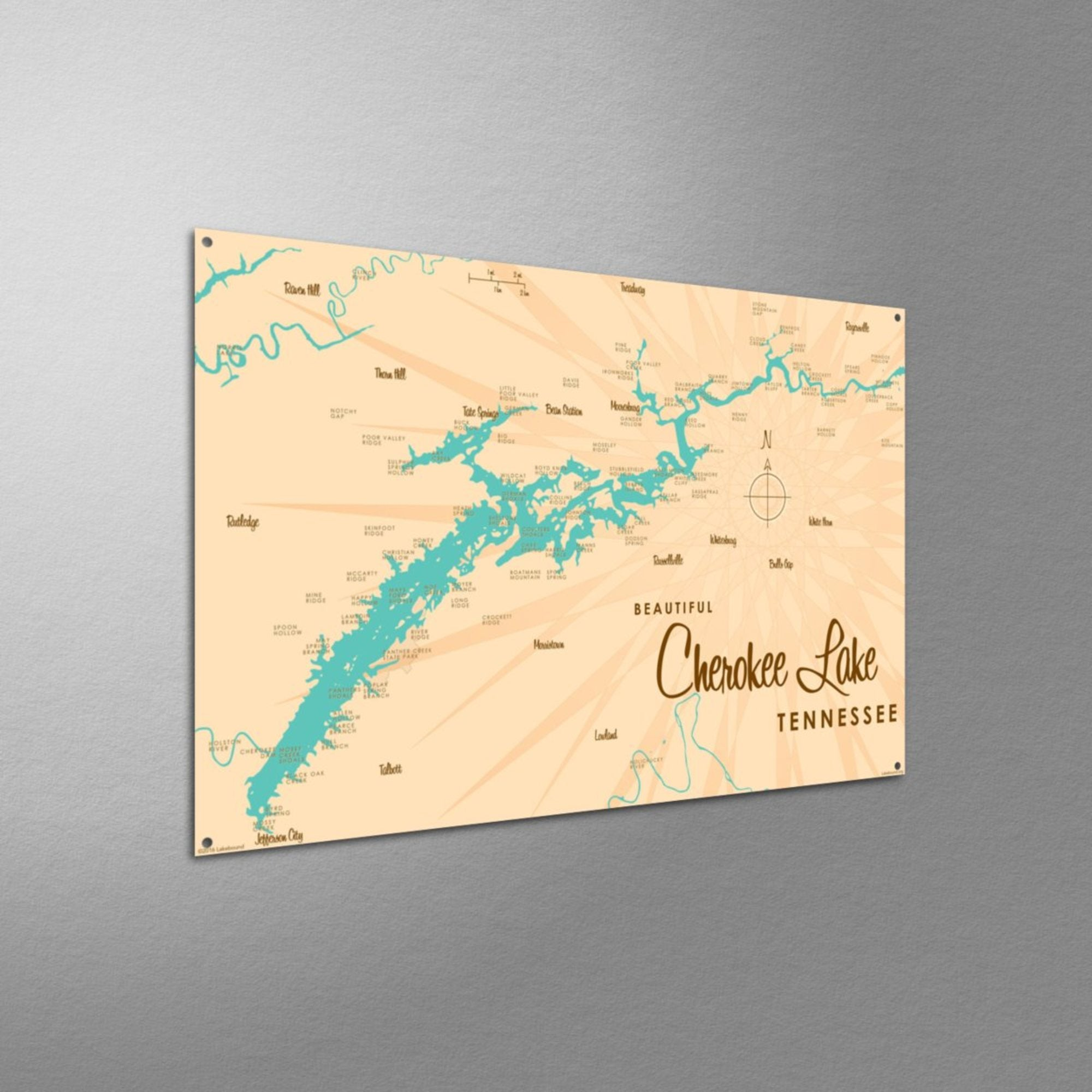 Cherokee Lake Tennessee, Metal Sign Map Art