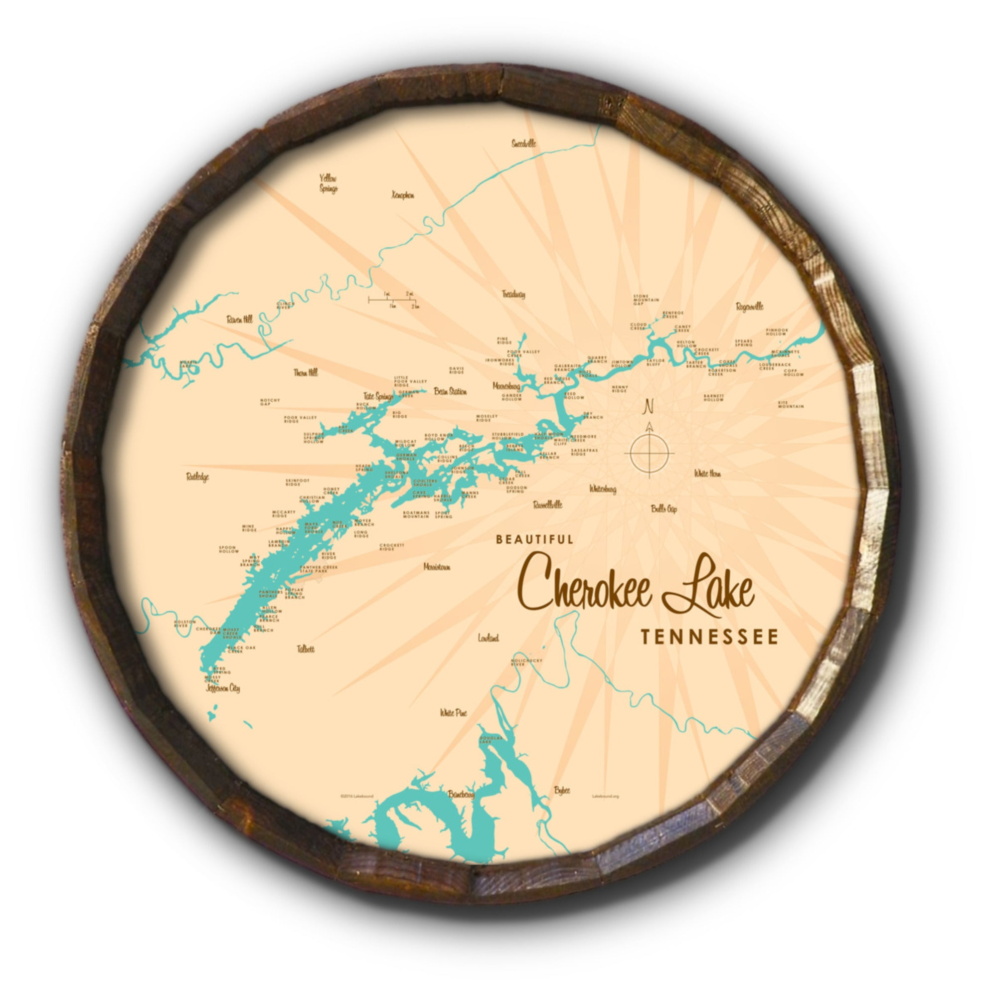 Cherokee Lake Tennessee, Barrel End Map Art
