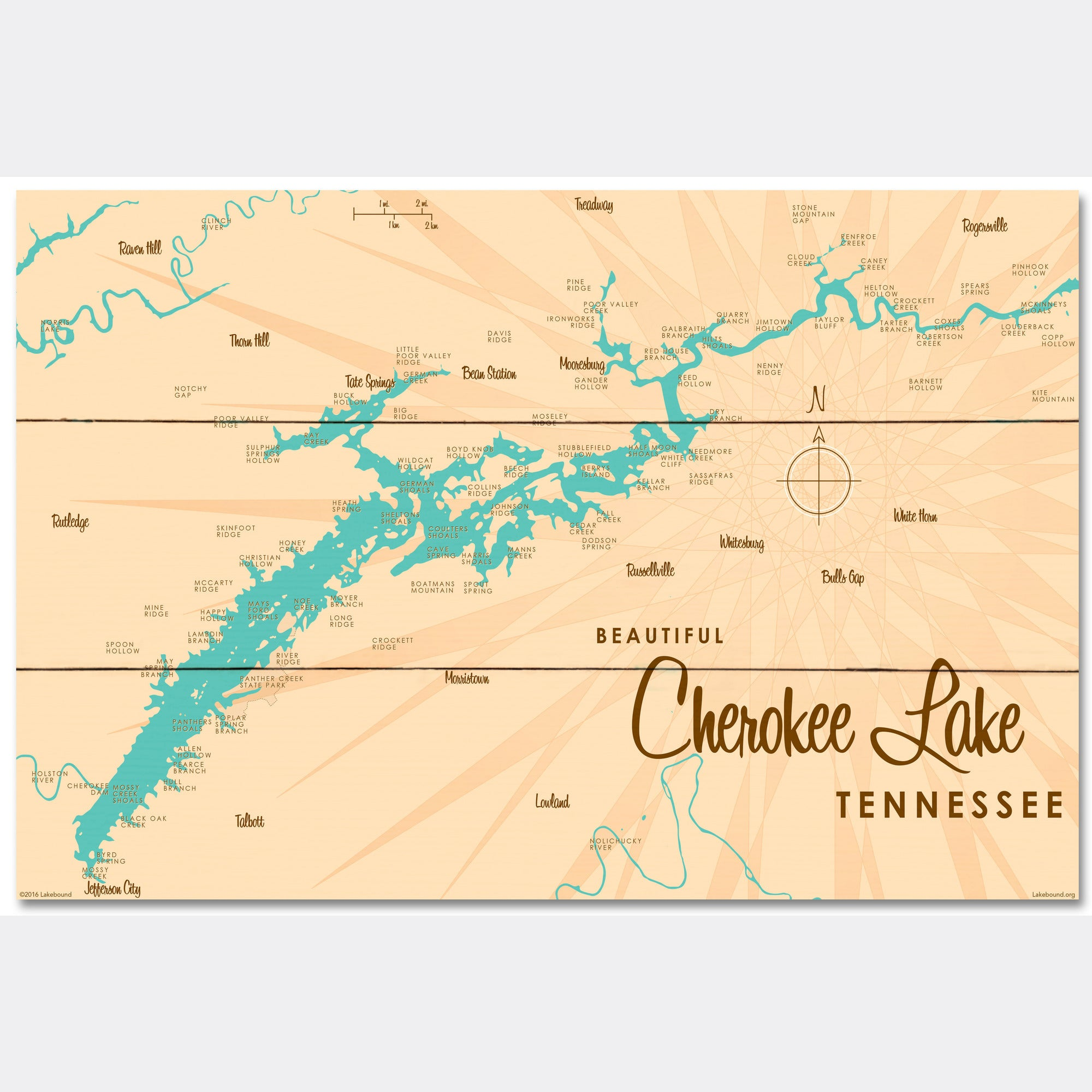 Cherokee Lake Tennessee, Wood Sign Map Art