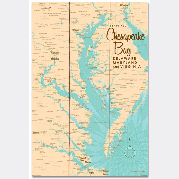 Chesapeake Bay MD Virginia, Wood Sign Map Art