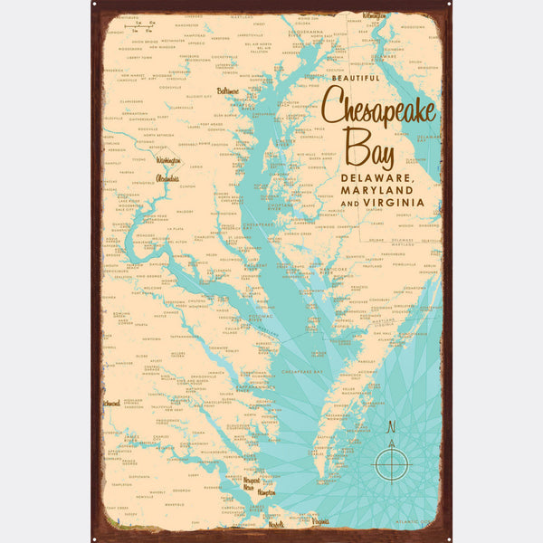 Chesapeake Bay MD Virginia, Rustic Metal Sign Map Art