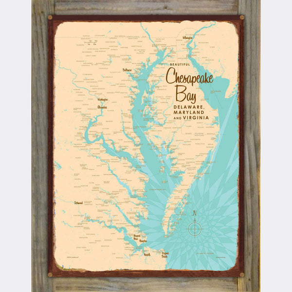 Chesapeake Bay MD Virginia, Wood-Mounted Rustic Metal Sign Map Art