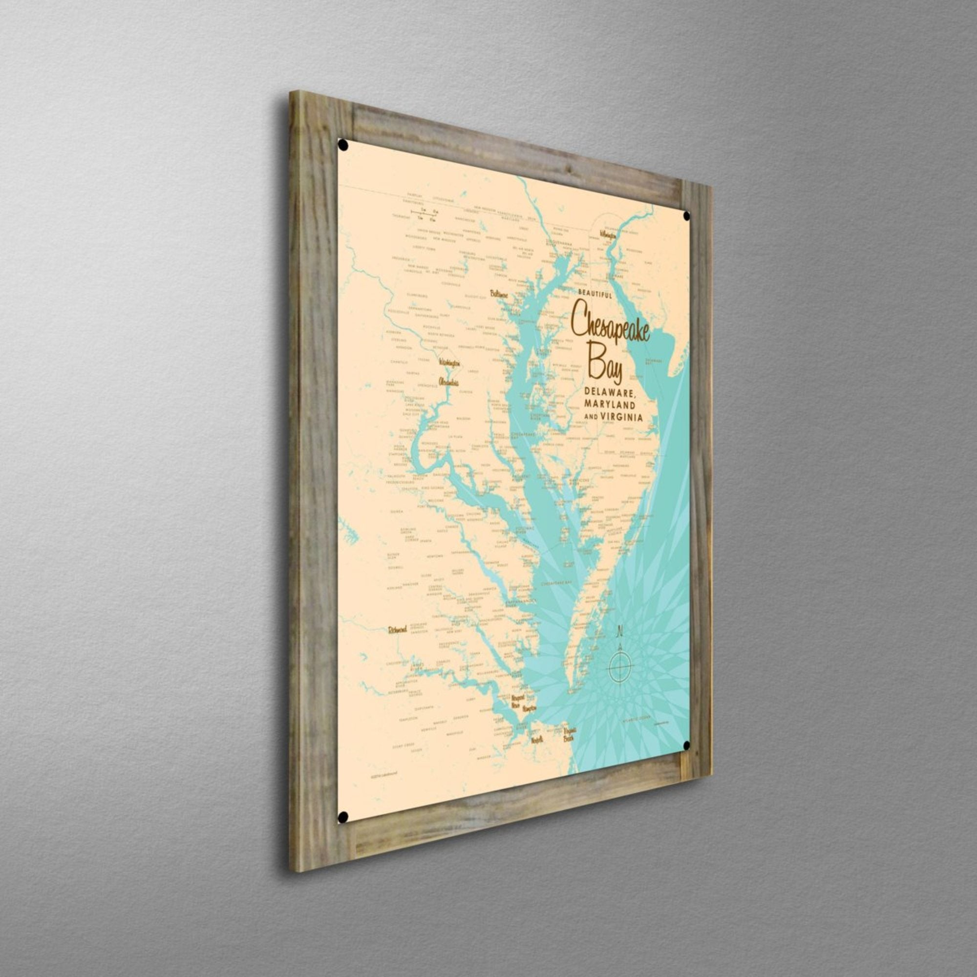 Chesapeake Bay MD Virginia, Wood-Mounted Metal Sign Map Art