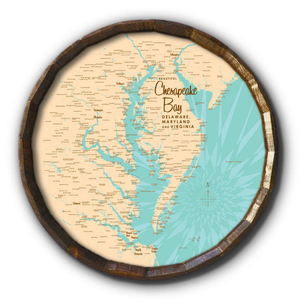 Chesapeake Bay MD Virginia, Barrel End Map Art