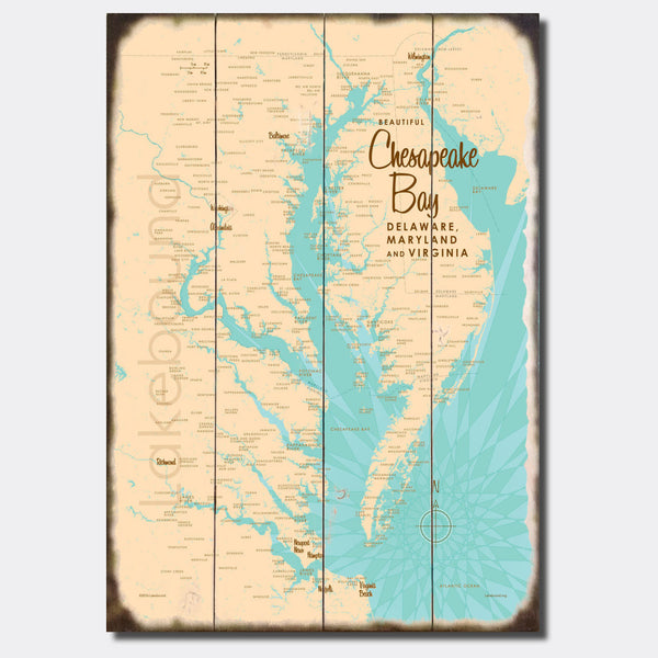 Chesapeake Bay MD Virginia, Sign Map Art