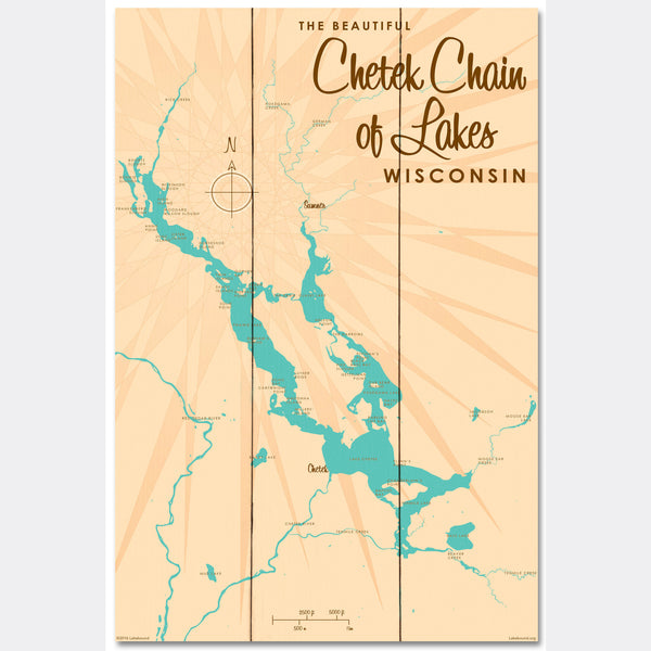 Chetek Chain of Lakes Wisconsin, Wood Sign Map Art