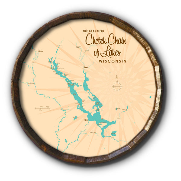 Chetek Chain of Lakes Wisconsin, Barrel End Map Art