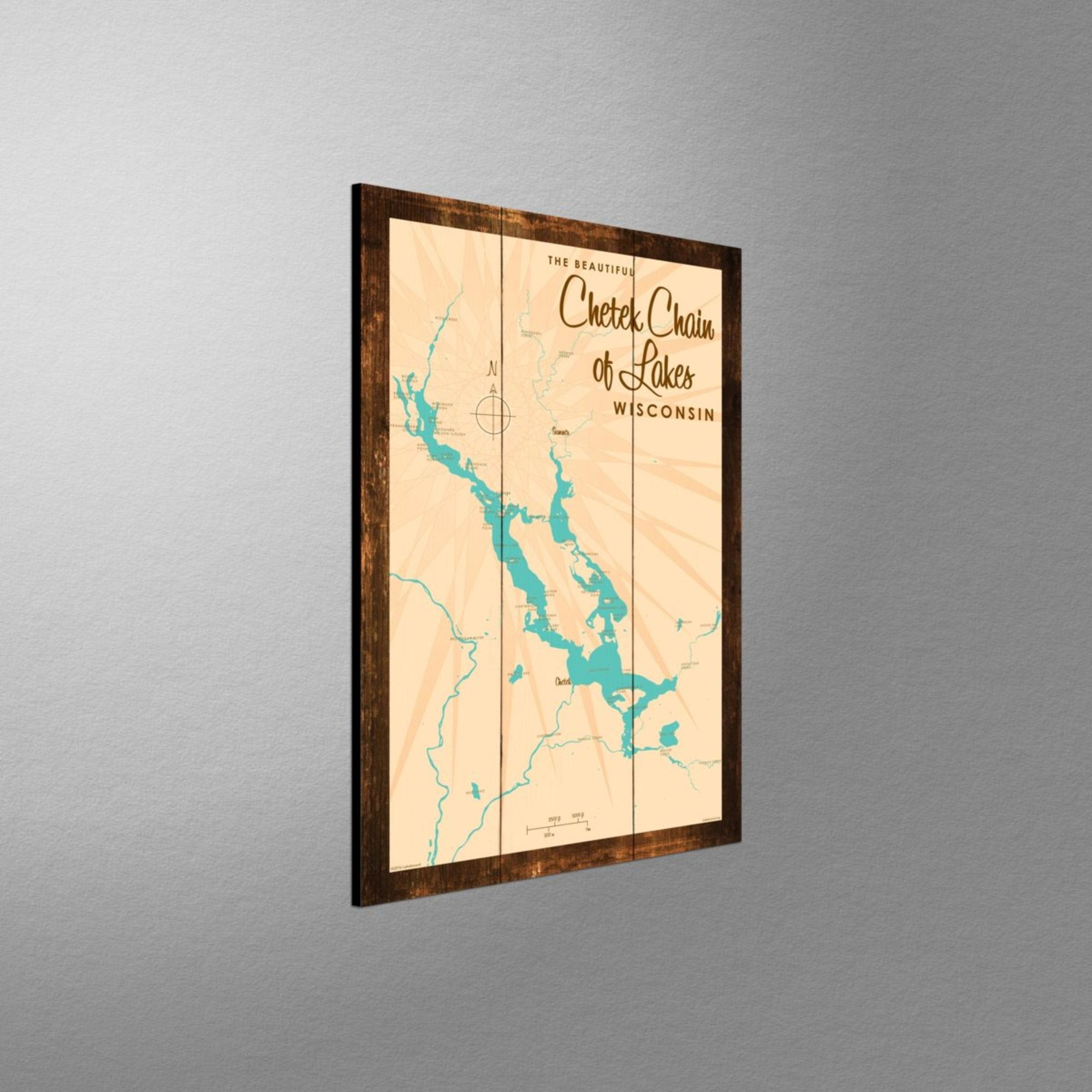 Chetek Chain of Lakes Wisconsin, Rustic Wood Sign Map Art