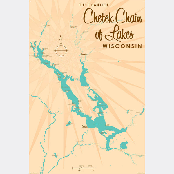 Chetek Chain of Lakes Wisconsin, Metal Sign Map Art