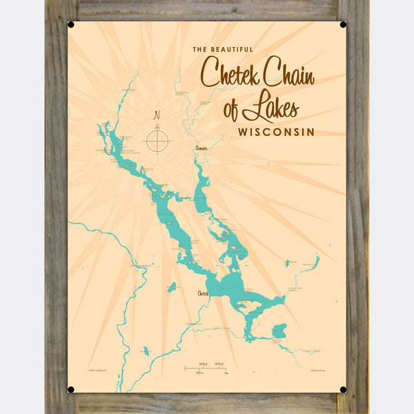 Chetek Chain of Lakes Wisconsin, Wood-Mounted Metal Sign Map Art