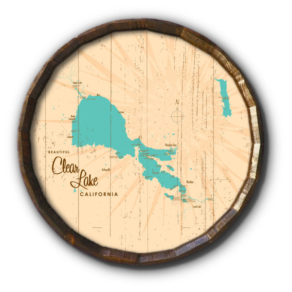 Clear Lake California, Rustic Barrel End Map Art