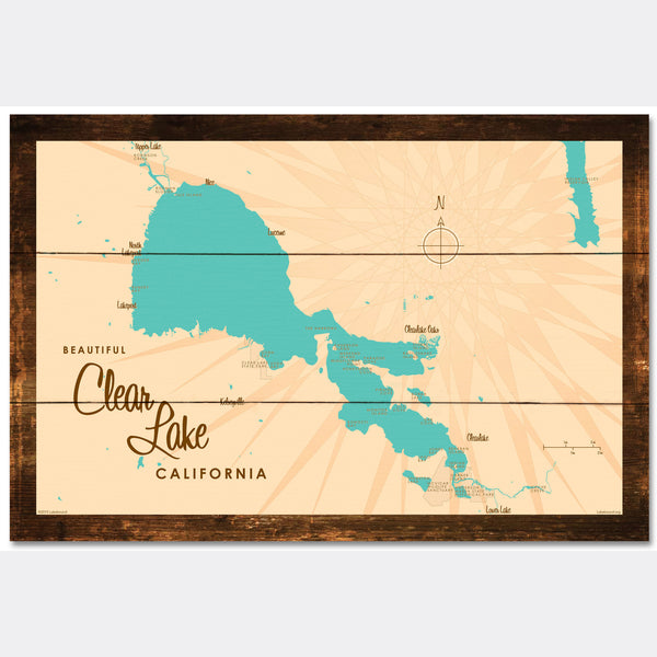 Clear Lake California, Rustic Wood Sign Map Art